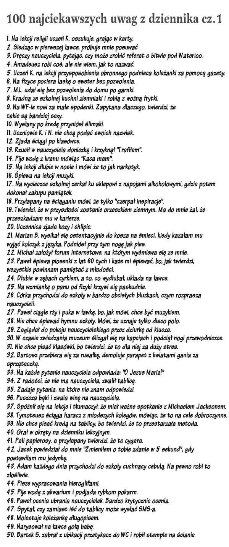 100 najsmieszniejszych uwag w dzienniku nauczyciela.